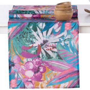 Bieżnik do jadalni kolorowy rośliny kwiaty 40x140 nowoczesny