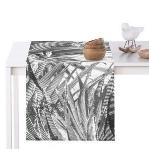 Bieżnik na stół czarny biały szkicowane liście tukany 40x140 nowoczesny