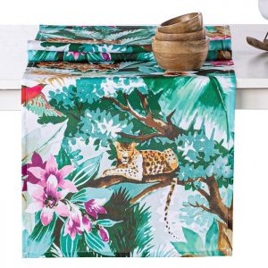 Bieżnik na stół tropikalny dżungla dzikie zwierzęta zielony 40x140