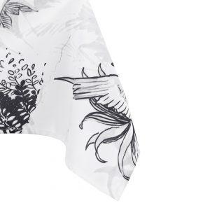 Obrus biały czarny szkicowany wzór zwierzęta Tropic 140x180
