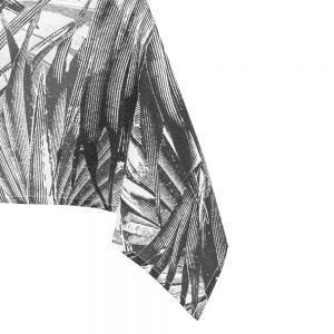 Obrus tropikalny czarny biały szkicowane liście tukany 140x180