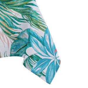 Obrus dekoracyjny kwiaty liście biały niebieski zielony 140x180 nowoczesny