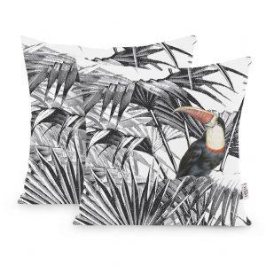 Poszewka ozdobna czarno biała z tukanem tropikalna 45x45