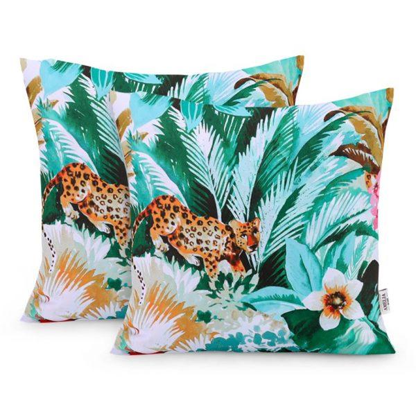 Poszewka ozdobna dżungla dzikie zwierzęta rośliny 45×45