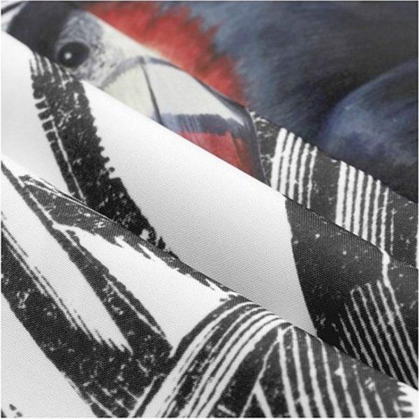 ZASŁONA nowoczesna szkicowana liście tukany 140x250 na przelotkach