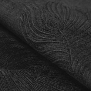Bieżnik boho z piórami prostokątny czarny dekoracyjny40x140