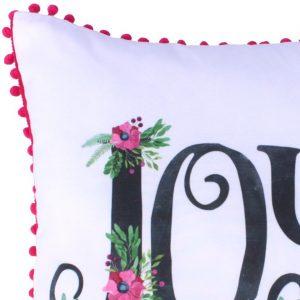 Ozdobna poszewka na poduszkę z pomponami biała fuksja 45x45 Joy
