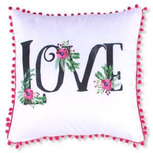 Ozdobna poszewka na poduszkę z pomponami biała fuksja 45x45 Love