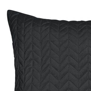 Poszewka dekoracyjna welwetowa czarna jodełka pikowana 45x45