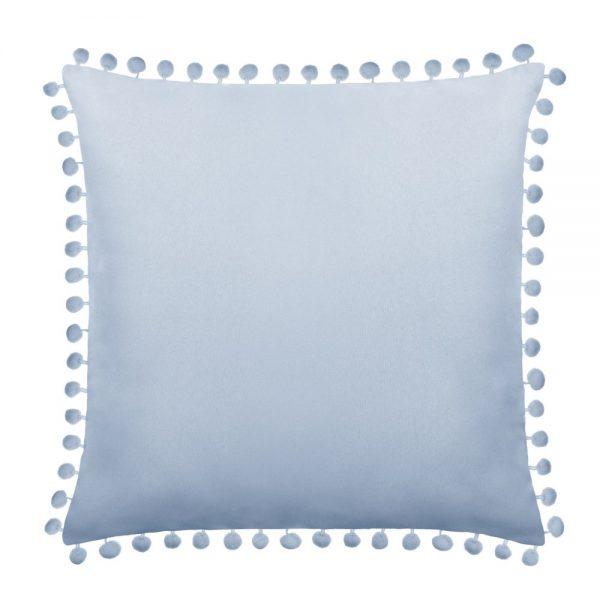Poszewka z pomponami błękitna gładka 45×45 dekoracyjna baby blue