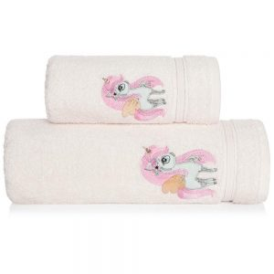Ręcznik kąpielowy dla dzieci JEDNOROŻEC 70x140 kremowy
