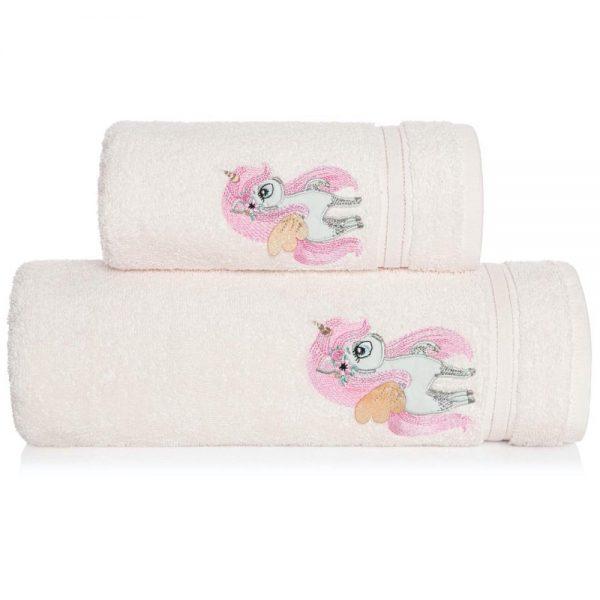 Ręcznik kąpielowy dla dzieci JEDNOROŻEC 70×140 kremowy