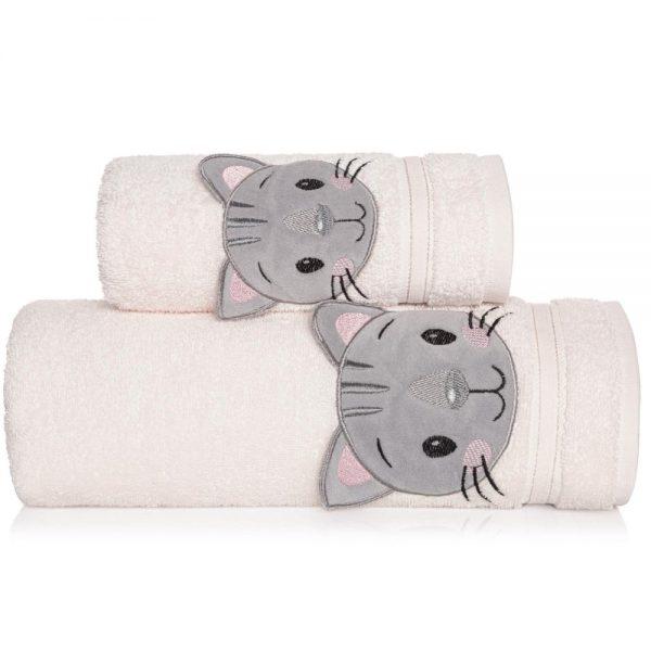 Ręcznik kąpielowy kremowy z naszywką KOTEK 70×140 dziecięcy