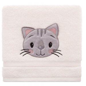 Ręcznik kąpielowy kremowy z naszywką KOTEK 70x140 dziecięcy