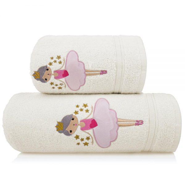 Ręcznik dziecięcy kremowy z naszywką kąpielowy BALETNICA 70×140