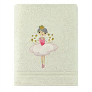 Ręcznik dziecięcy kremowy z naszywką kąpielowy BALETNICA 70x140