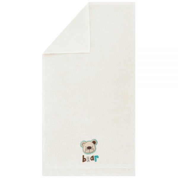 Ręcznik kąpielowy z naszywką MIŚ 70x140 kremowy dziecięcy
