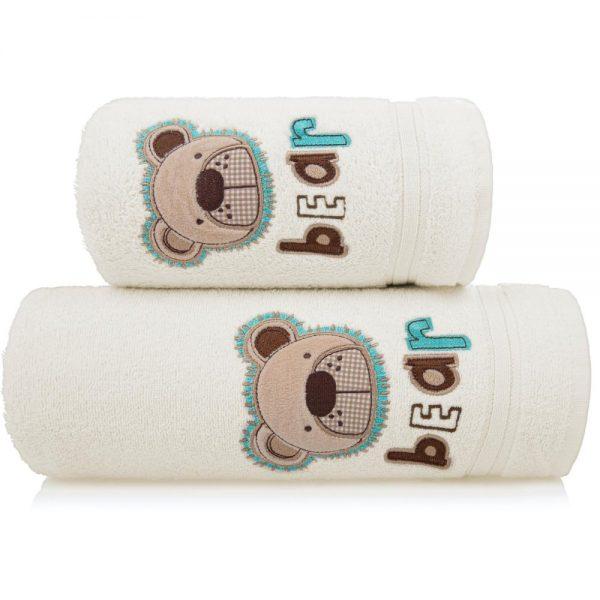 Ręcznik kąpielowy z naszywką MIŚ 70×140 kremowy dziecięcy