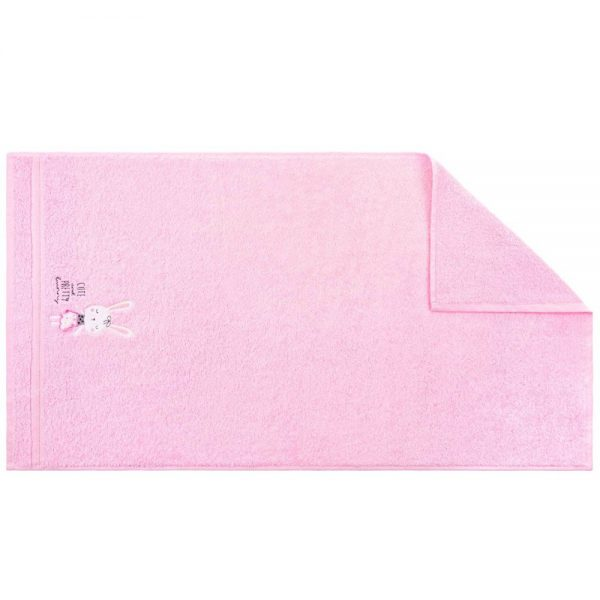Ręcznik dziecięcy różowy z naszywką kąpielowy KRÓLIK 70x140