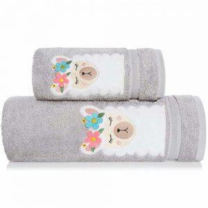 Ręcznik kąpielowy z naszywką LAMA 70x140 szary dziecięcy