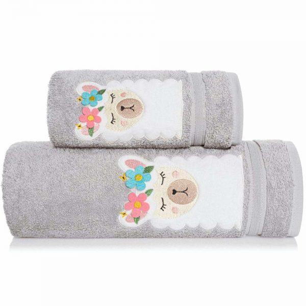 Ręcznik kąpielowy z naszywką LAMA 70×140 szary dziecięcy