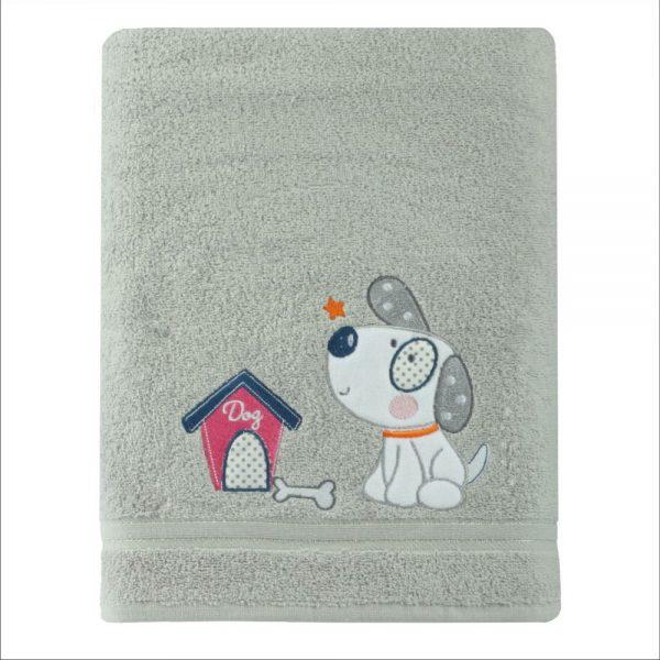 Ręcznik dziecięcy szary ręcznik kąpielowy PIESEK 70x140
