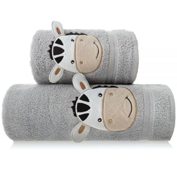 Ręcznik dziecięcy kremowy z naszywką kąpielowy ZEBRA 70×140