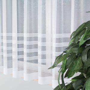 Firana biała z ozdobnymi pasami 400x160 gotowakrótka