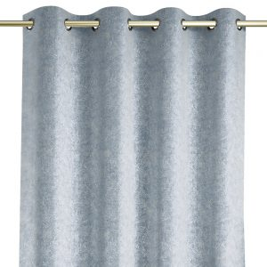 EleganckaZasłona srebrna welwetowa z błyszczącym nadrukiem 140x250 zaciemniająca