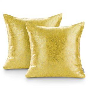 Poszewka żółta ze złotym nadrukiem 45x45 błyszcząca