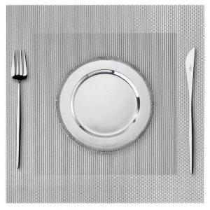 Podkładka kwadratowa na stół 35x35 wodoodporna mata srebrna