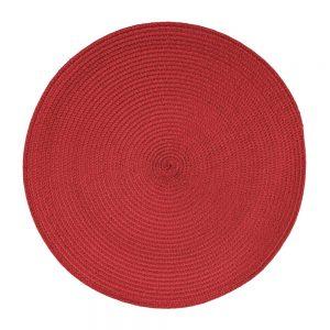 Okrągła mata na stół czerwona podkładka dekoracyjna 38cm