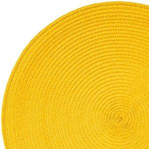 Okrągła mata na stół żółta podkładka kuchenna 38cm ozdobna