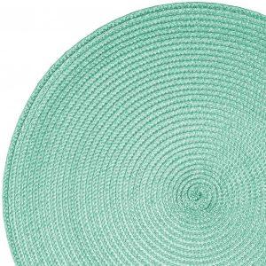 Okrągła mata na stół miętowa podkładka kuchenna 38cm ozdobna