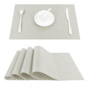 Podkładka mata na stół ecru pleciona 30x45 z połyskiem