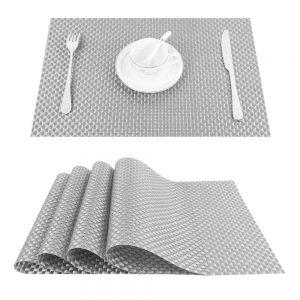 Podkładka mata na stół srebrna pleciona 30x45 z połyskiem