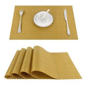 Podkładka mata na stół złota pleciona 30x45 z połyskiem
