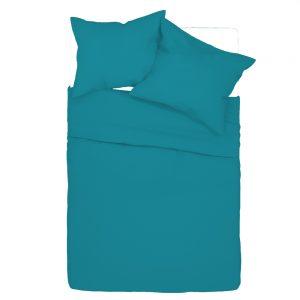 Pościel 140x200 bawełniana turkusowa gładka w jednolitym kolorze