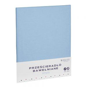 Prześcieradło bawełniane błękitne matowe gładkie 220x240