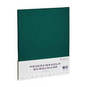 Prześcieradło bawełniane zielone matowe gładkie 220x240