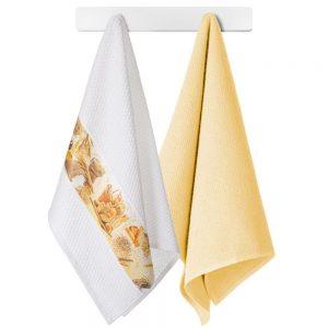Komplet ozdobnych ścierek do kuchni 2szt bawełniane 45x70 żółty