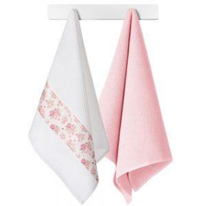 Komplet ścierek do kuchni z aplikacją bawełniane 45x70 2szt Różowe