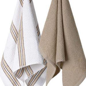 Komplet ścierek kuchennych bawełnianych beżowa biała w paski 38x63