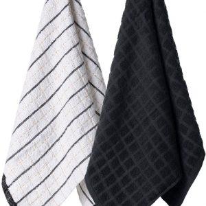 Komplet ścierek kuchennych bawełnianych czarna biała w kratkę 38x63