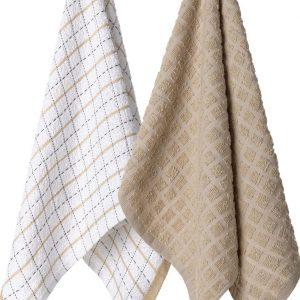 Komplet ścierek kuchennych bawełnianych beżowa biała w kratkę 38x63