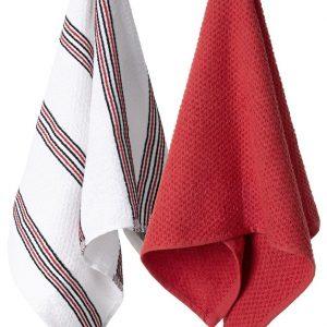 Komplet ścierek kuchennych bawełnianych czerwona biała w paski 38x63
