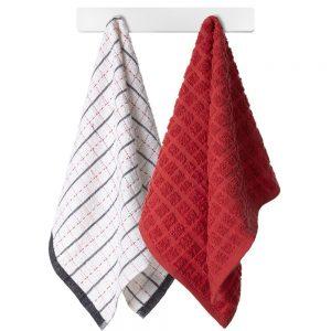 Komplet ścierek kuchennych bawełnianych czerwona biała w kratkę 38x63