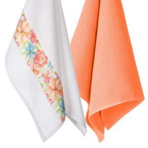 Komplet ścierek do kuchni z aplikacją 2szt Pomarańczowe bawełniane 45x70