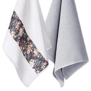 Komplet ścierek kuchennych z aplikacją bawełnianych 45x70 Kwiaty drobne