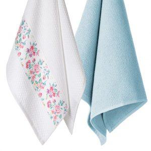 Komplet ozdobnych ścierek kuchennych 2szt błękitne bawełniane 45x70